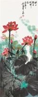 映日荷花 立轴 设色纸本 - 沈威峰 - 中国当代书画专场 - 2012春季艺术品拍卖 -收藏网