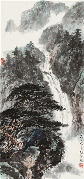 飞瀑图 镜心 设色纸本 - 4438 - 中国书画二 - 2012春季艺术品拍卖会 -收藏网