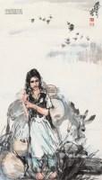 牧驴图 立轴 设色纸本 - 黄胄 - 中国近现代书画夜场 - 八周年春季拍卖会 -收藏网