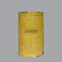 黄釉雕瓷山水笔筒 -  - 古董珍玩夜场 - 2012春季文物艺术品拍卖会 -收藏网