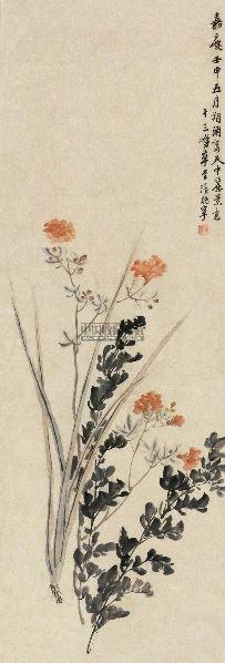 花卉 立轴 设色纸本 - 123435 - 中外书画精品 - 2012年《第一拍卖厅》冬季专场拍卖会 -收藏网