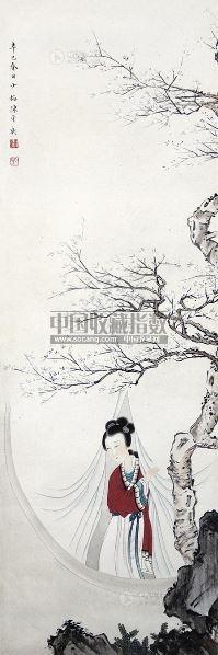 赏梅图 立轴 设色纸本 - 5014 - 中国书画(一) - 2013年春季拍卖会第428期 -收藏网