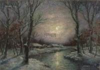 雪夜 布面 油彩 - 7371 - 中国油画及雕塑 - 2013年春季拍卖会 -收藏网