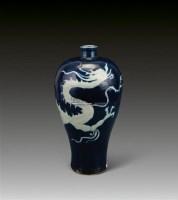祭蓝釉留白龙纹梅瓶 -  - 瓷器专场 - 香港中联2012大型艺术品拍卖会 -收藏网
