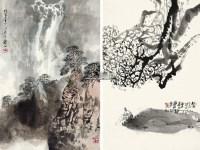 飞瀑图 浣溪沙 立轴 设色、水墨纸本 - 129088 - 中国书画 - 2012秋季拍卖会 -收藏网