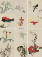花鸟 册页 (十二开) 设色纸本 - 139818 - 精品册 - 2012年春季大型艺术品拍卖会 -收藏网