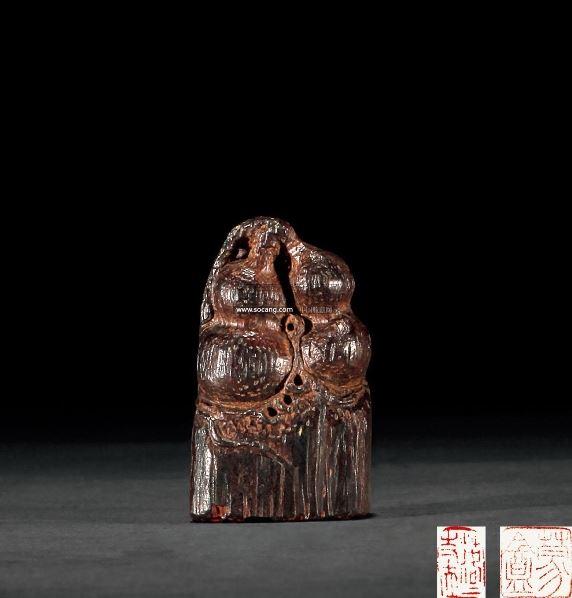 沉香木雕葫芦印章 -