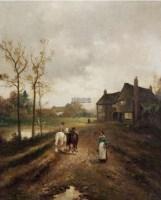 荷兰道路的风景 布面 油画 -  - 中外书画精品 - 2012年《第一拍卖厅》冬季专场拍卖会 -收藏网