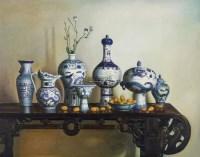青花瓷 布面 油画 - 85388 - 中外书画精品 - 2012年《第一拍卖厅》冬季专场拍卖会 -收藏网