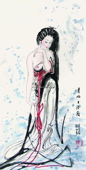 古装美女出浴简笔画