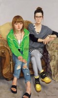 两个女生 布面 油彩 - 于小冬 - 中国油画及雕塑 - 2012年秋季拍卖会 -收藏网