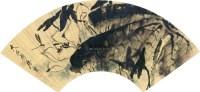 墨荷 扇片镜框 泥金绢本 - 117343 - 中国名家书画专场(二) - 2012年秋季艺术品拍卖会 -收藏网