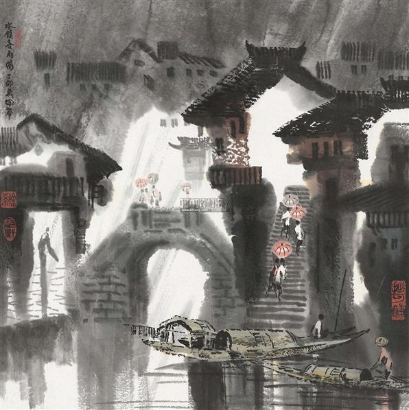 水镇喜雨 镜框 设色纸本 - 127698 - 中国当代书画专场 - 2012春季艺术品拍卖 -收藏网
