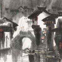 水镇喜雨 镜框 设色纸本 - 徐 希 - 中国当代书画专场 - 2012春季艺术品拍卖 -收藏网