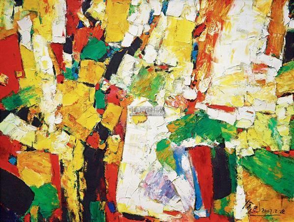 抽象 布面油画 - 158325 - 华人西画 - 2012年秋季暨十周年庆大型艺术品拍卖会 -中国收藏网