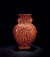 剔红花卉兽耳瓶 -  - 文房雅玩专场 - 2012年秋季艺术品拍卖会 -收藏网