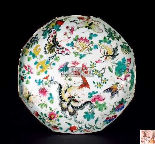 粉彩花蝶八角盘 - - 瓷器玉器工艺品(一)