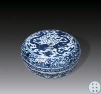 青花二龙戏珠纹盖盒 -  - 中国瓷器 - 2012年秋季竞买会 -收藏网