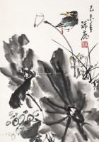 荷花翠鸟 立轴 纸本 - 147711 - 中国书画 - 2012年第四回无底价同一藏家书画拍卖会 -收藏网