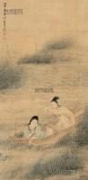 采菱图 立轴 设色绢本 - 4972 - 中国书画 - 2013春季艺术品拍卖会 -收藏网