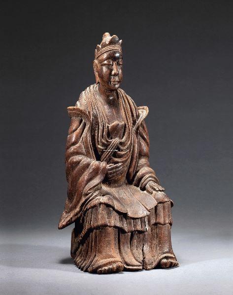 扬州文物商店旧藏请索阅品相报告此件观音以沉香木为材,立体圆雕观音