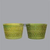 绿釉竹节纹花盆 (两件) -  - 古董珍玩夜场 - 2012春季文物艺术品拍卖会 -收藏网