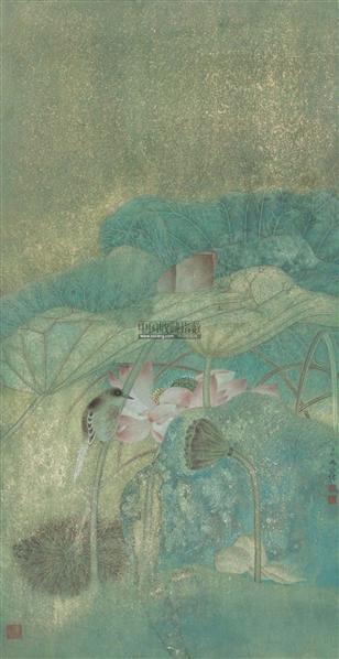 荷塘雀影 镜片 设色纸本 - 4494 - 中国当代书画专场 - 2012春季艺术品拍卖 -收藏网