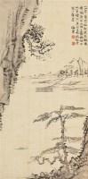 溪山放艇图 立轴 水墨绢本 - 116759 - 新金陵画派 - 2012年春季艺术品拍卖会 -收藏网