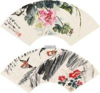 花鸟 双挖扇片 设色纸本 -  - 中国书画二 - 2012年秋季拍卖会 -中国收藏网