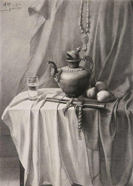 静物之二 素描 - 156172 - 华人西画 - 2012年秋季暨十周年庆大型艺术品拍卖会 -收藏网