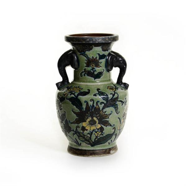 哥釉剔花素三彩象耳瓶 -  - 古董珍玩 - 2013 年迎春大型艺术品拍卖会 -收藏网