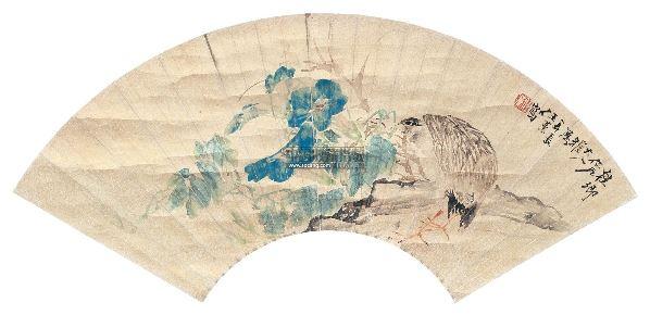 花鸟 扇面 设色金笺 - 5984 - 中国名家书画 - 2012年秋季中国名家书画拍卖会 -收藏网