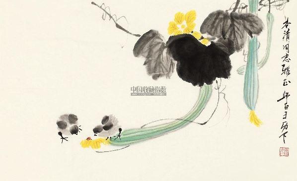 丝瓜小鸡 软片 设色纸本 - 2960 - 宝丰堂书画专场 - 2012秋季中国图片