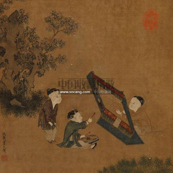 婴戏图 镜心 设色绢本 - 116944 - 中国书画 - 第二期艺术品拍卖会 -收藏网