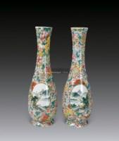 粉彩万花开光山水人物图瓶 -  - 中国瓷器 - 2012年秋季竞买会 -收藏网