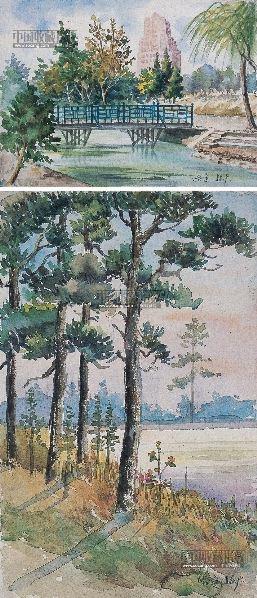 哈定 风景 水彩画 (二件) 纸本