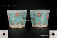 松绿地寿桃花盆 (一对) -  - 私人收藏 - 2010年第98期拍卖会 -中国收藏网