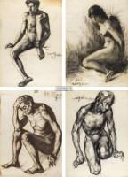 人体素描 (共四幅) 纸本 素描 - 王川 - 中国油画及雕塑 - 2012年秋季拍卖会 -收藏网
