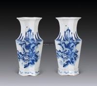 青花人物方胜瓶 (一对) -  - 以阅众甫瓷器文玩专场 - 2012年大型艺术品拍卖会 -收藏网