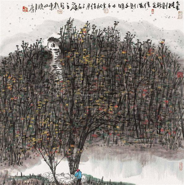 小邨秋色 镜片 设色纸本 - 114993 - 中国当代书画专场 - 2012春季艺术品拍卖 -收藏网