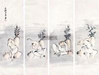 人物 四屏镜框 纸本 -  - 辽沈名贤翰墨 - 2012春季艺术品拍卖会 -收藏网