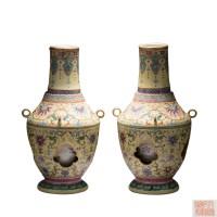 四系黄地粉彩转心瓶  -  - 瓷器专场 - 光大国际•艺术品拍卖会  -收藏网