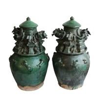 绿釉雕人兽鸟食罐魂瓶一对 -  - 瓷器专场 - 光大国际•艺术品拍卖会  -中国收藏网