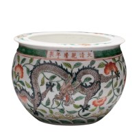 五彩龙纹卷缸 -  - 瓷器专场 - 光大国际•艺术品拍卖会  -收藏网