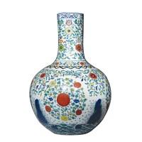 青花斗彩天球瓶 -  - 瓷器专场 - 光大国际•艺术品拍卖会  -收藏网