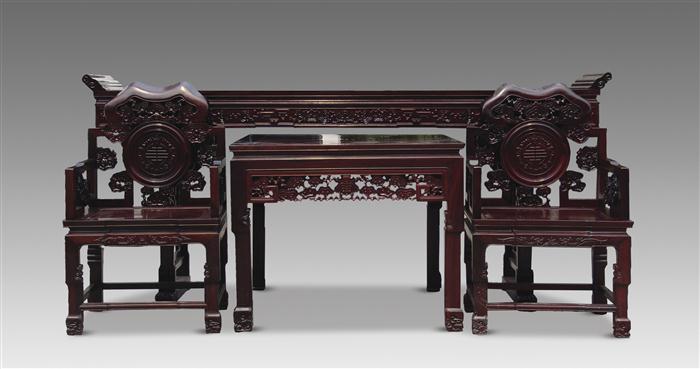 酸枝木灵芝纹中堂四件套 - - 古典家具 - 2014北京嘉缘四季艺术品拍卖