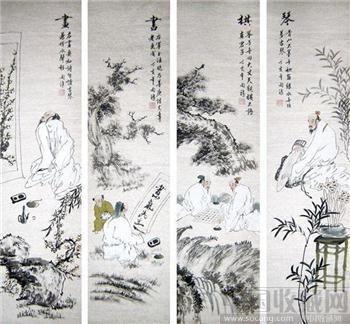 胡开禧·人物四条屏《琴棋书画》-收藏网