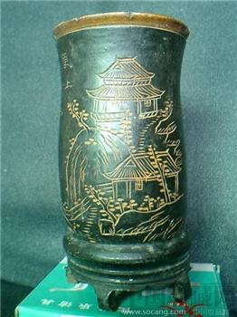 竹雕黑漆笔筒-收藏网