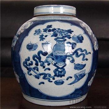 青花博古罐-收藏网