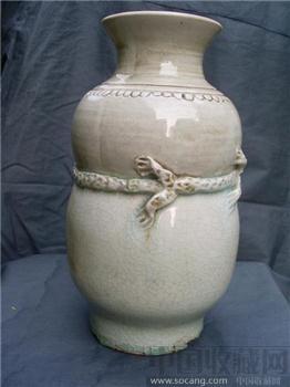 元 影青浮雕龙纹瓶-收藏网